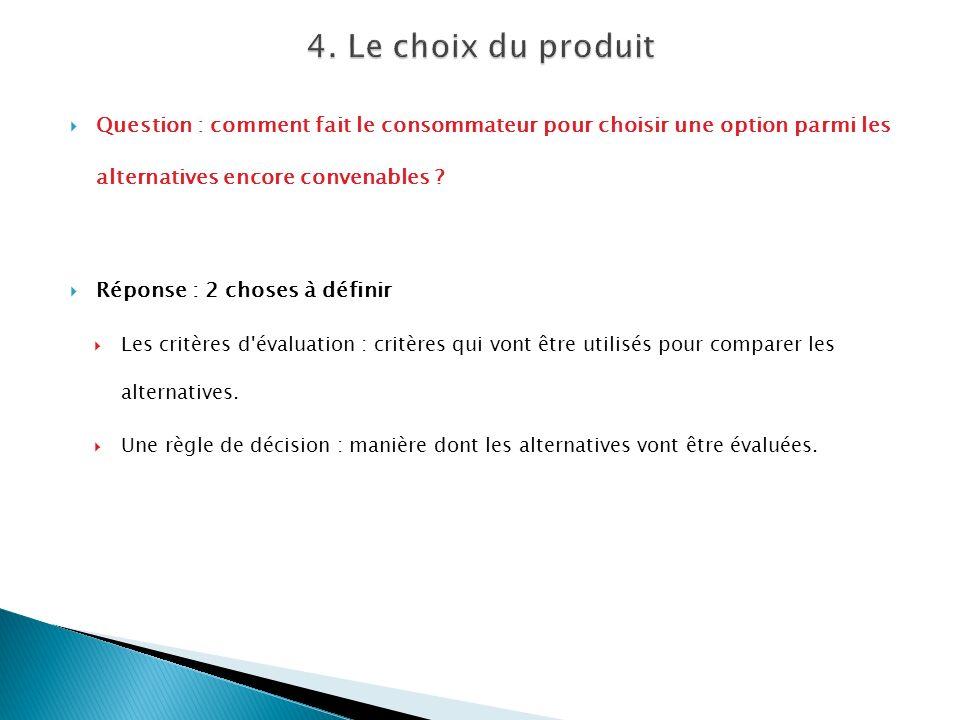 4. Le choix du produit Question : comment fait le consommateur pour choisir une option parmi les alternatives encore convenables