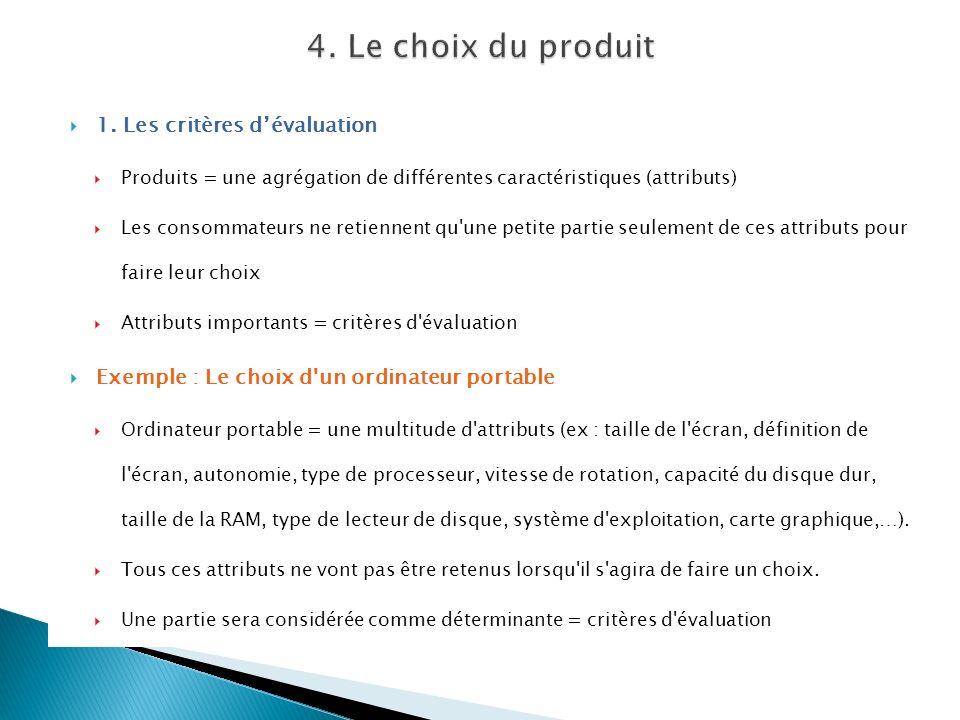4. Le choix du produit 1. Les critères d'évaluation
