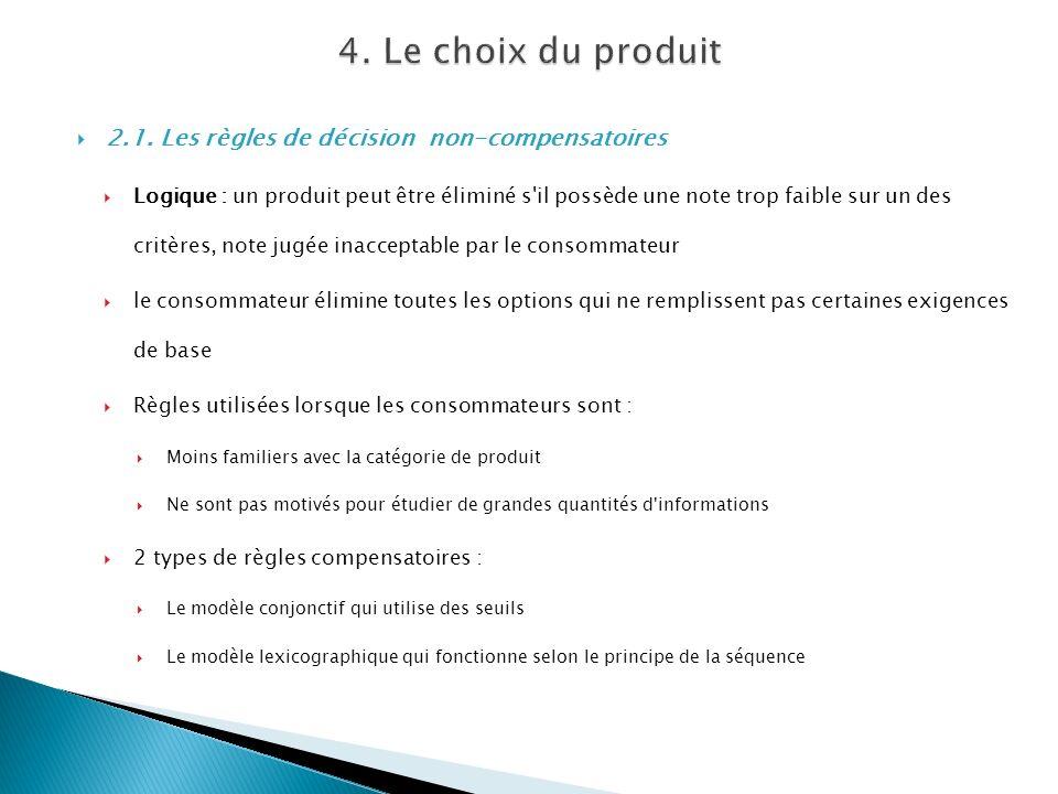 4. Le choix du produit 2.1. Les règles de décision non-compensatoires