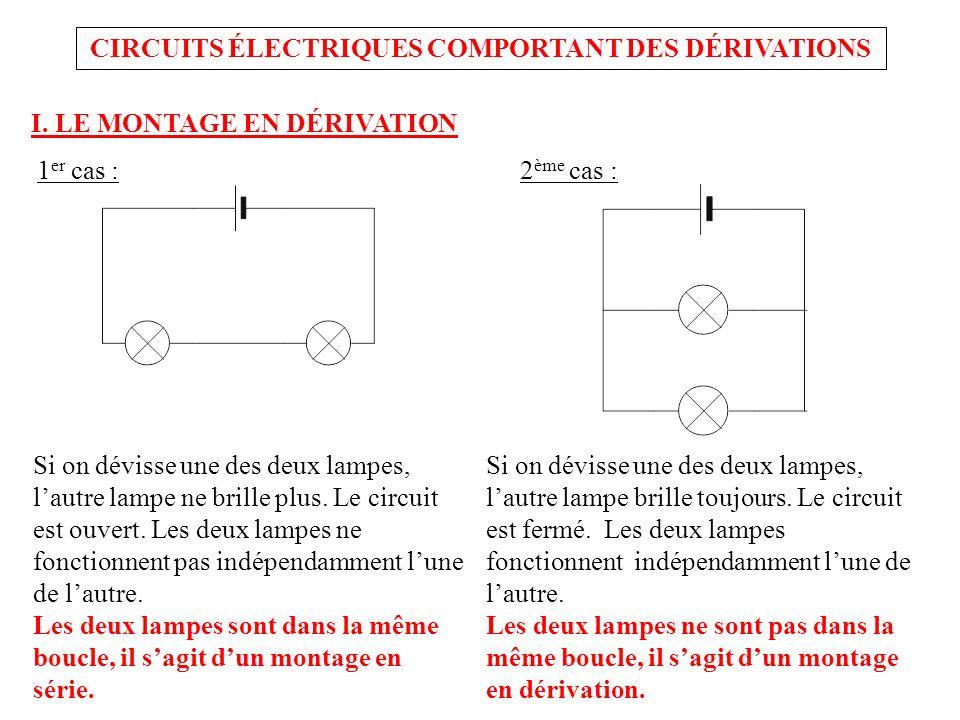 CIRCUITS ÉLECTRIQUES COMPORTANT DES DÉRIVATIONS