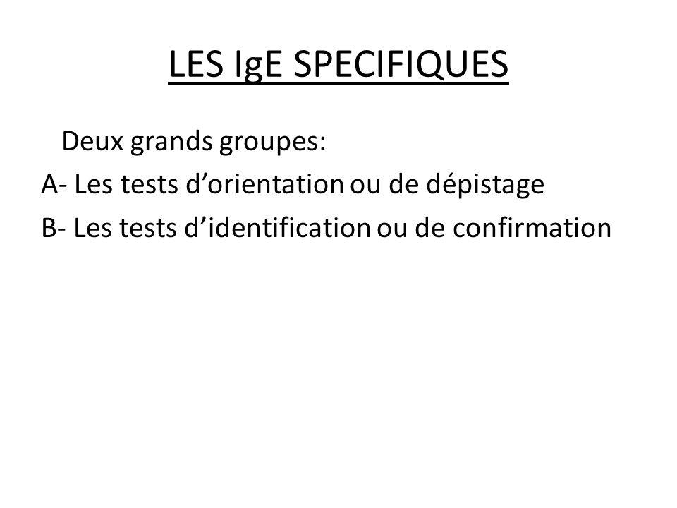 LES IgE SPECIFIQUES Deux grands groupes: A- Les tests d'orientation ou de dépistage B- Les tests d'identification ou de confirmation
