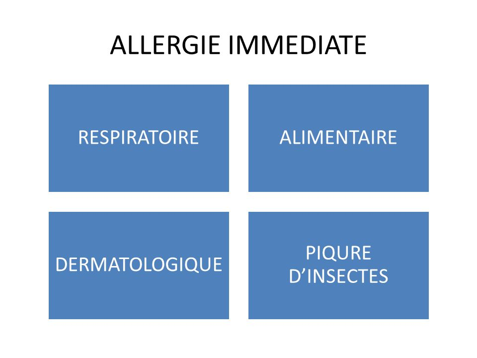 ALLERGIE IMMEDIATE RESPIRATOIRE ALIMENTAIRE DERMATOLOGIQUE