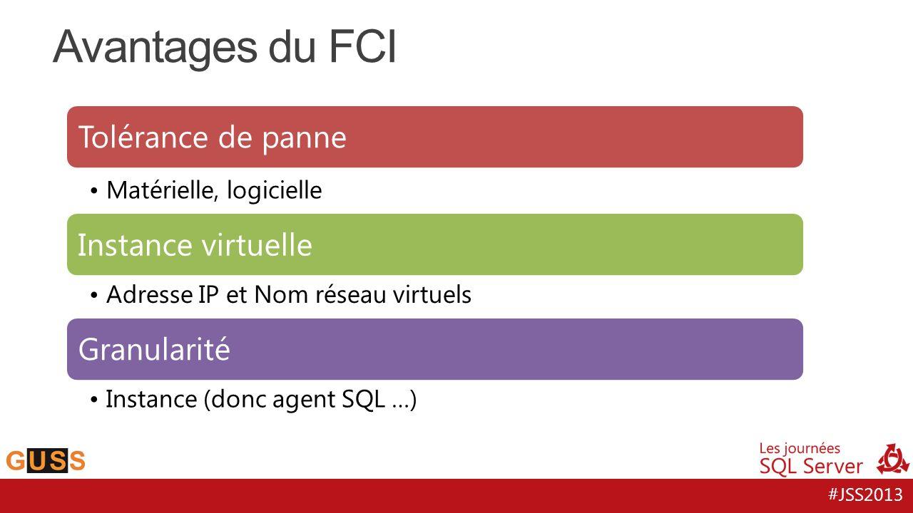 Avantages du FCI Tolérance de panne Instance virtuelle Granularité