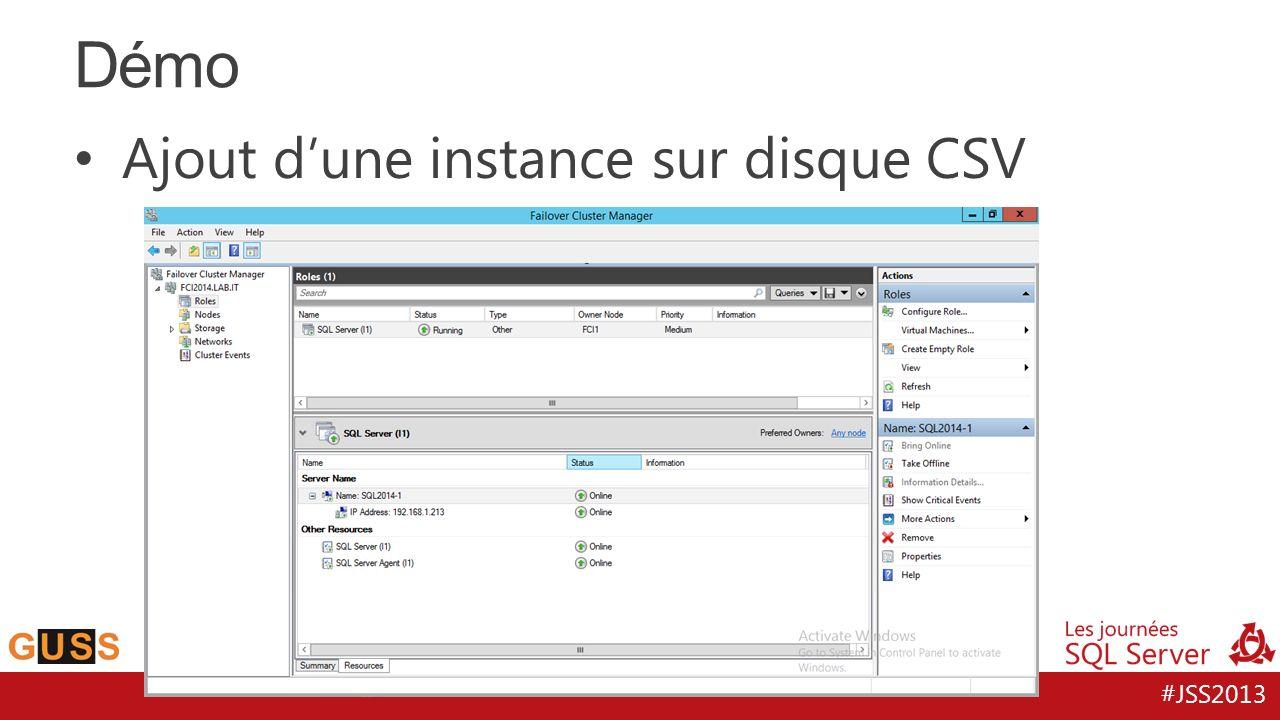 Démo Ajout d'une instance sur disque CSV