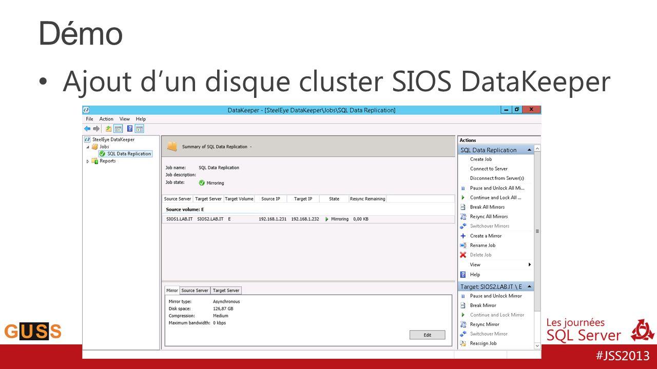Démo Ajout d'un disque cluster SIOS DataKeeper