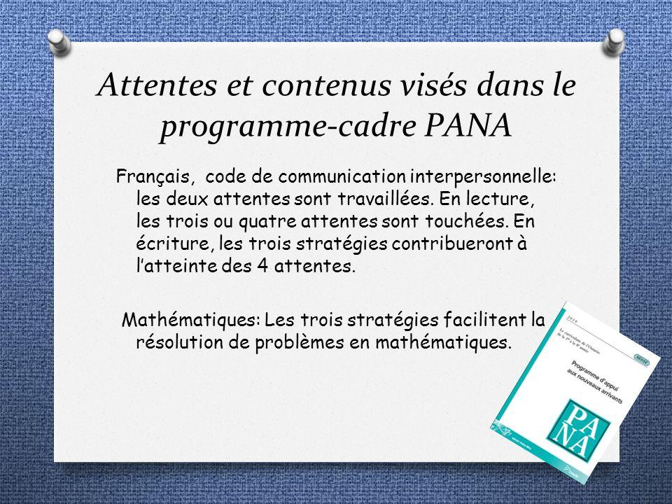 Attentes et contenus visés dans le programme-cadre PANA