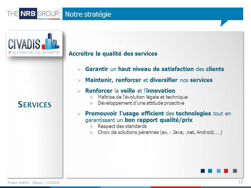 Services Notre stratégie Accroître la qualité des services