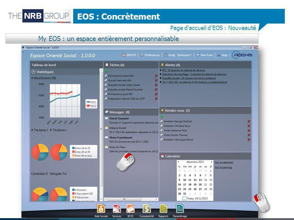 EOS : Concrètement My EOS : un espace entièrement personnalisable