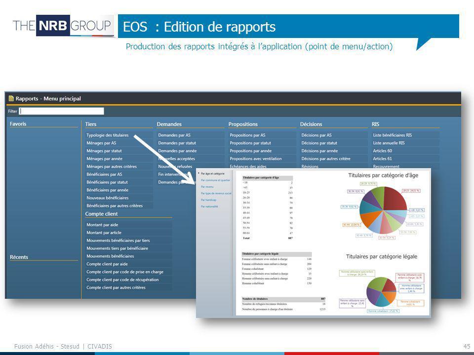 EOS : Edition de rapports