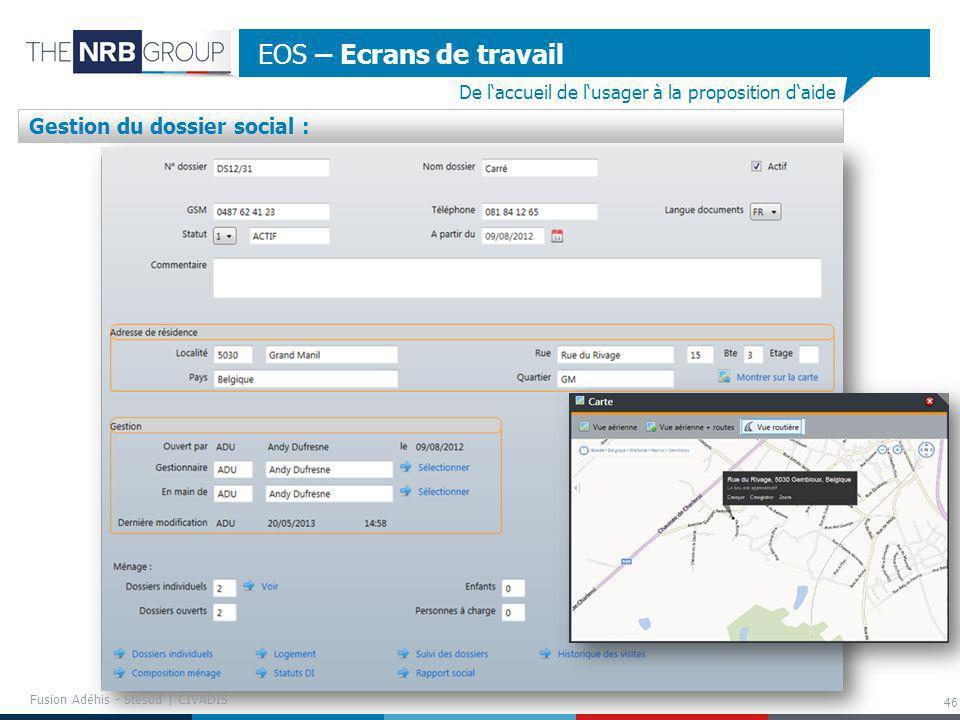 EOS – Ecrans de travail Gestion du dossier social :