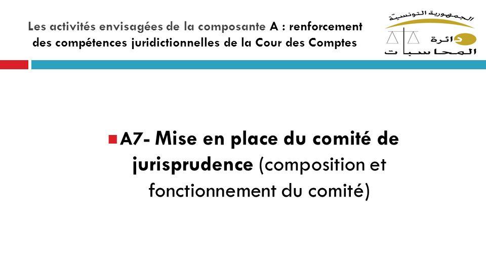 Les activités envisagées de la composante A : renforcement des compétences juridictionnelles de la Cour des Comptes