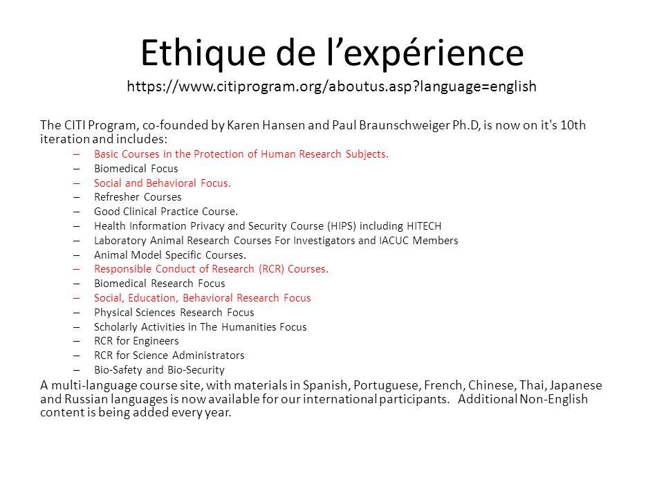 Ethique de l'expérience https://www. citiprogram. org/aboutus. asp