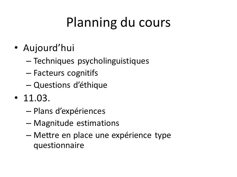 Planning du cours Aujourd'hui 11.03. Techniques psycholinguistiques