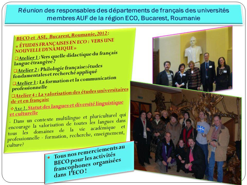 Réunion des responsables des départements de français des universités membres AUF de la région ECO, Bucarest, Roumanie