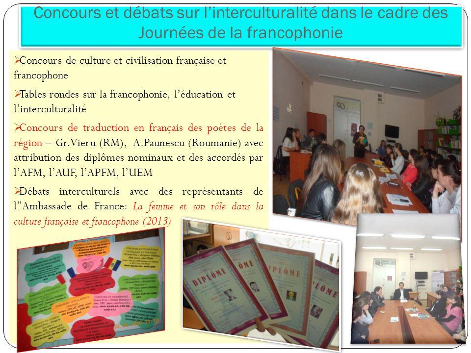 Concours et débats sur l'interculturalité dans le cadre des Journées de la francophonie