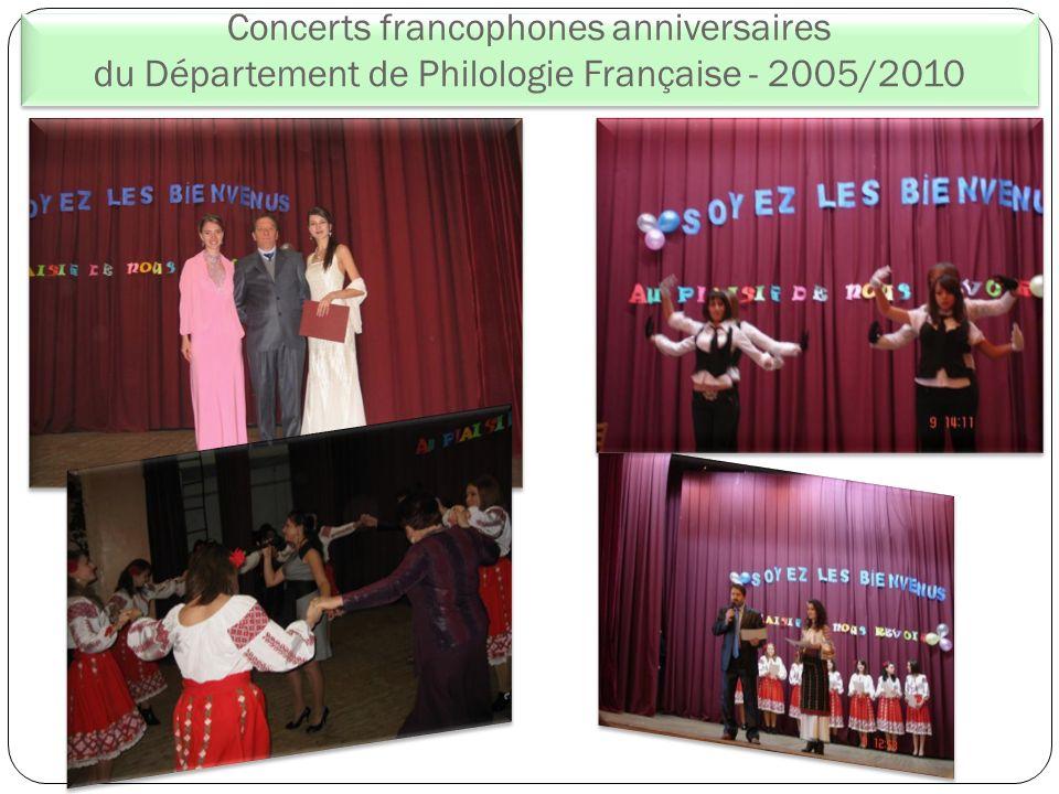 Concerts francophones anniversaires du Département de Philologie Française - 2005/2010