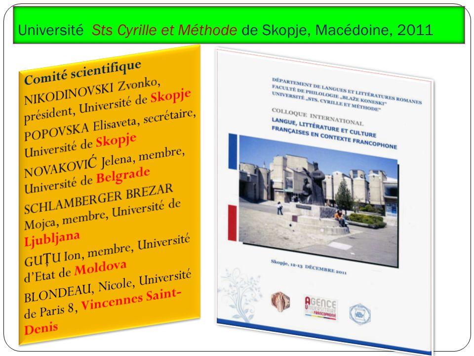 Université Sts Cyrille et Méthode de Skopje, Macédoine, 2011