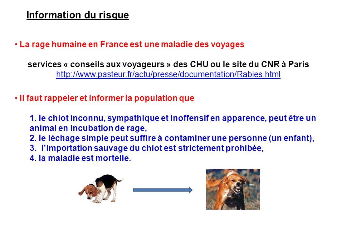 Information du risque La rage humaine en France est une maladie des voyages.