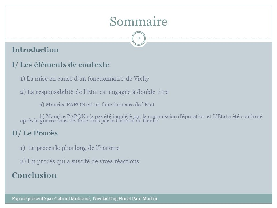 Sommaire Conclusion Introduction I/ Les éléments de contexte