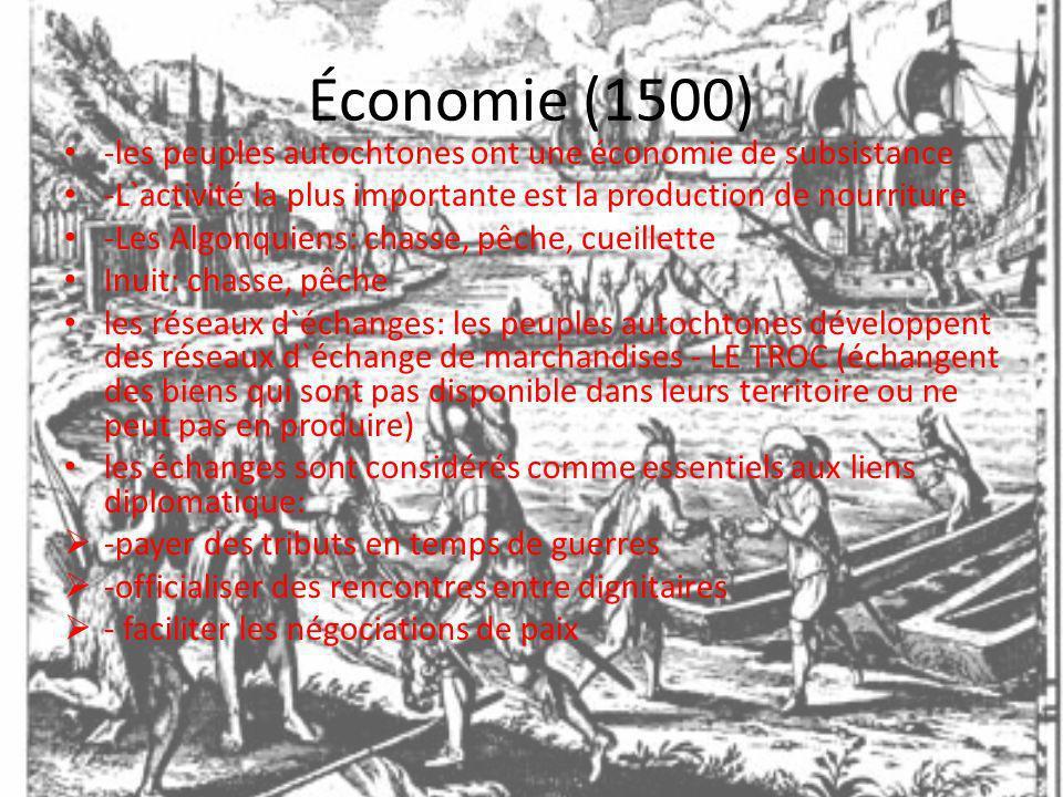 Économie (1500) -les peuples autochtones ont une économie de subsistance. -L`activité la plus importante est la production de nourriture
