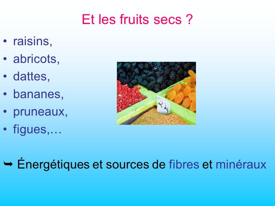 Et les fruits secs raisins, abricots, dattes, bananes, pruneaux,