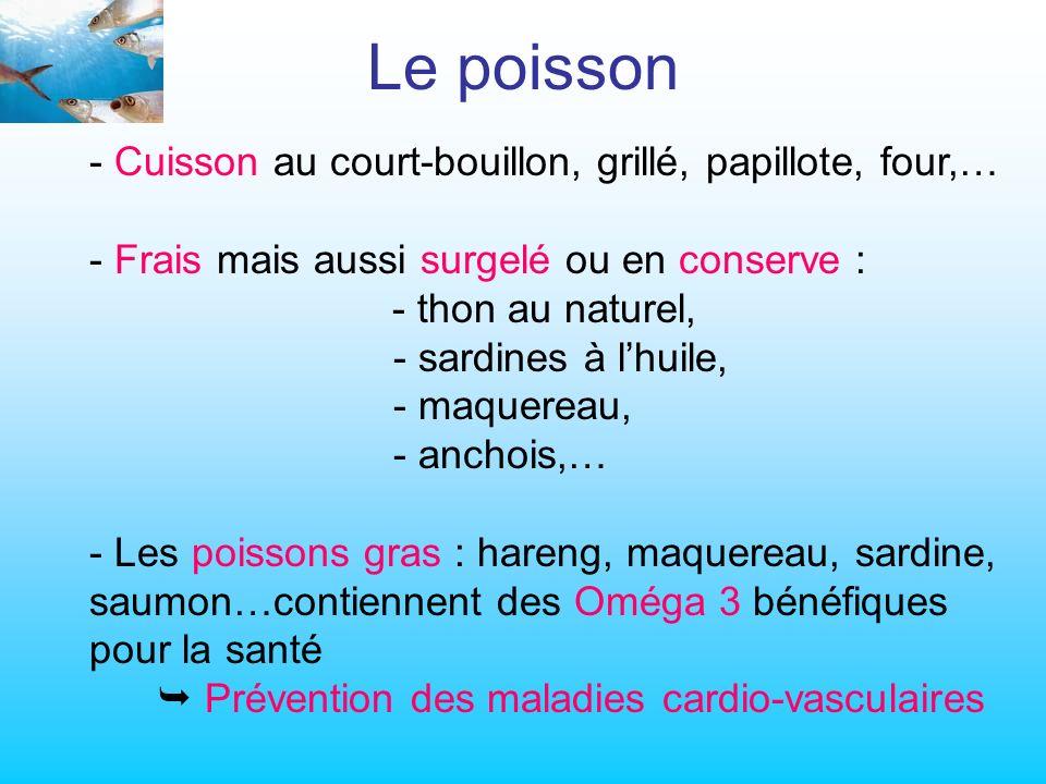 Le poisson Cuisson au court-bouillon, grillé, papillote, four,…