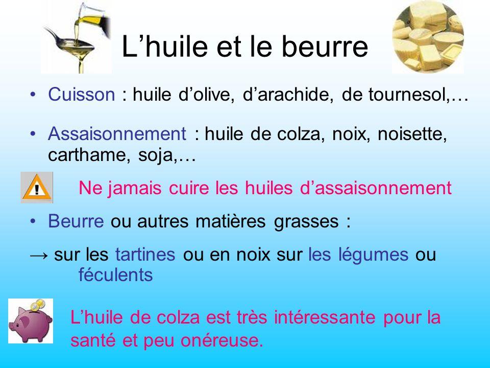 L'huile et le beurre Cuisson : huile d'olive, d'arachide, de tournesol,… Assaisonnement : huile de colza, noix, noisette, carthame, soja,…