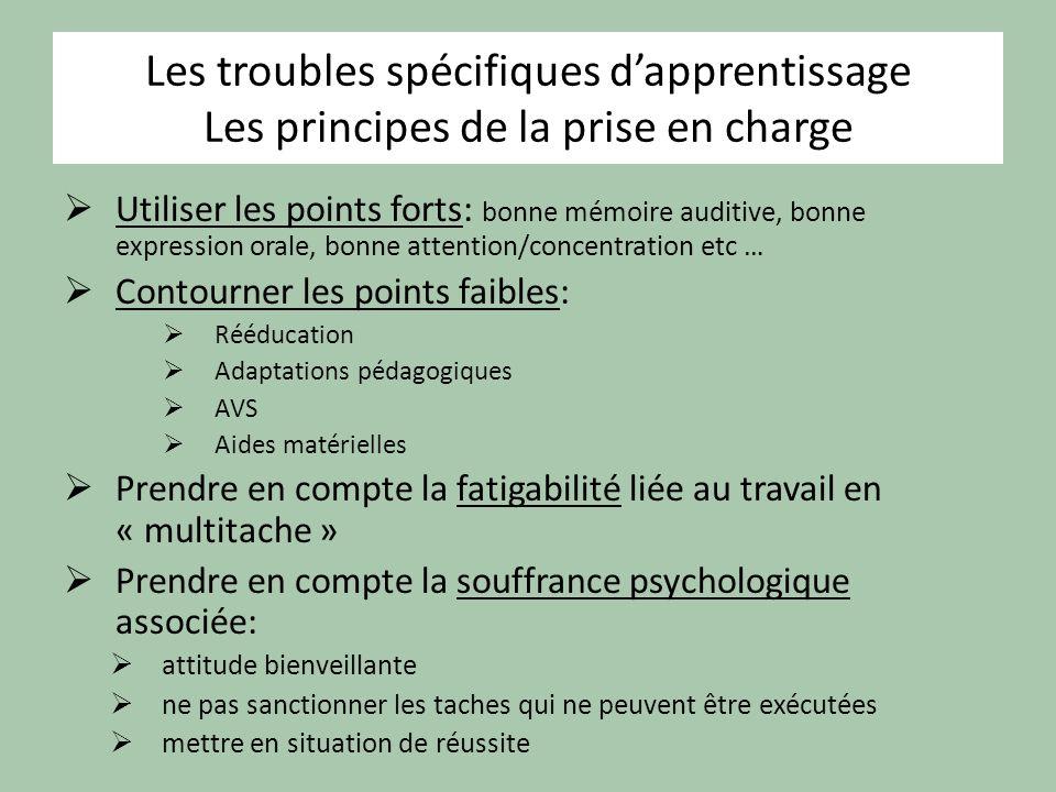 Les troubles spécifiques d'apprentissage Les principes de la prise en charge