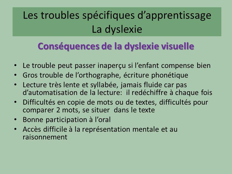Les troubles spécifiques d'apprentissage La dyslexie