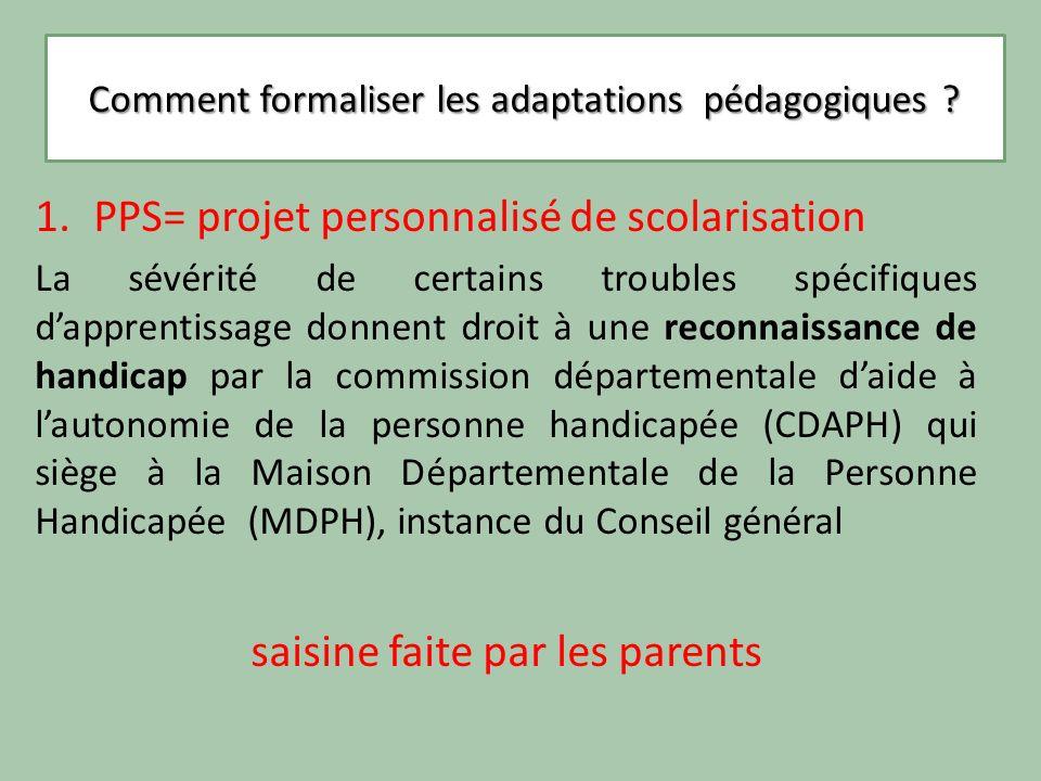 Comment formaliser les adaptations pédagogiques