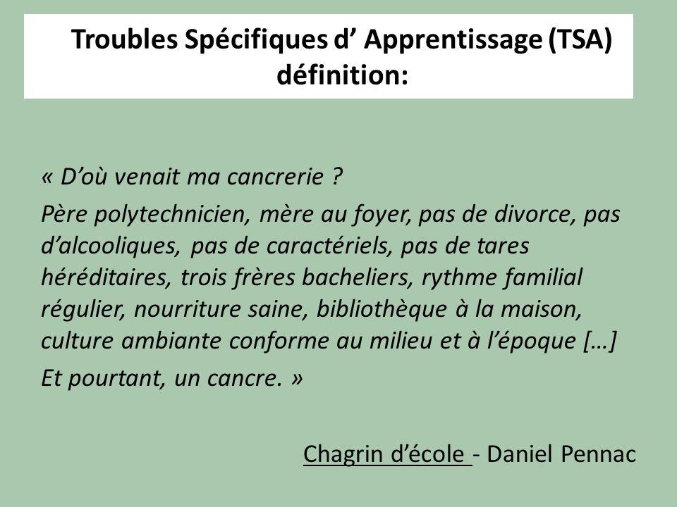 Troubles Spécifiques d' Apprentissage (TSA) définition: