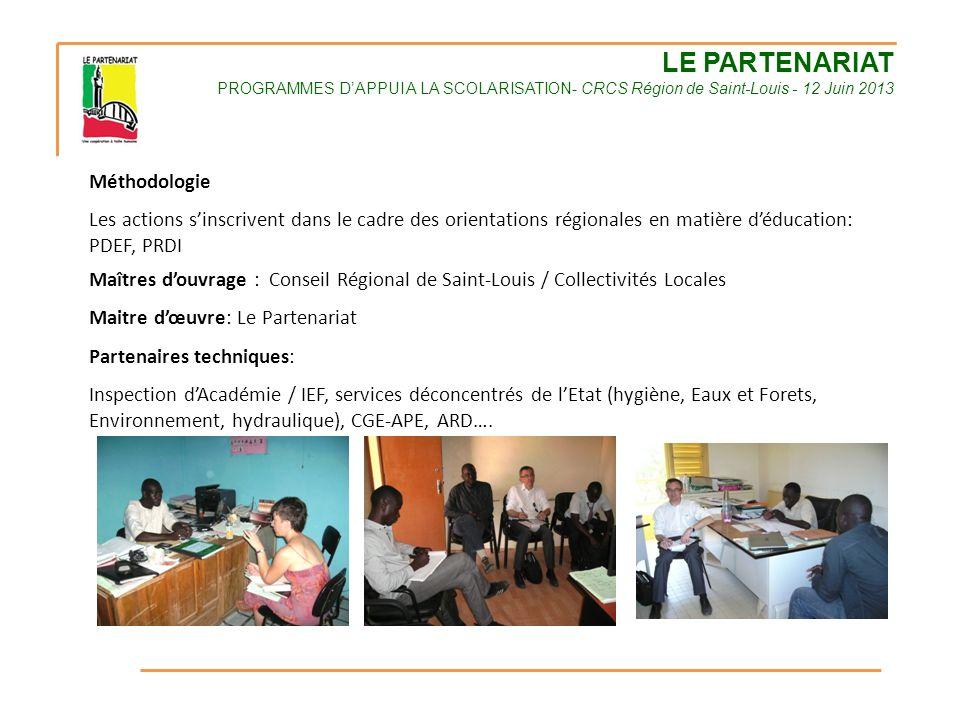 LE PARTENARIAT PROGRAMMES D'APPUI A LA SCOLARISATION- CRCS Région de Saint-Louis - 12 Juin 2013