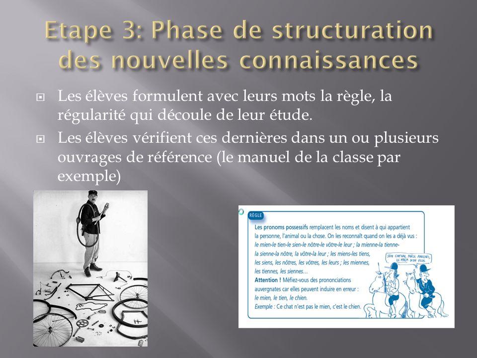 Etape 3: Phase de structuration des nouvelles connaissances