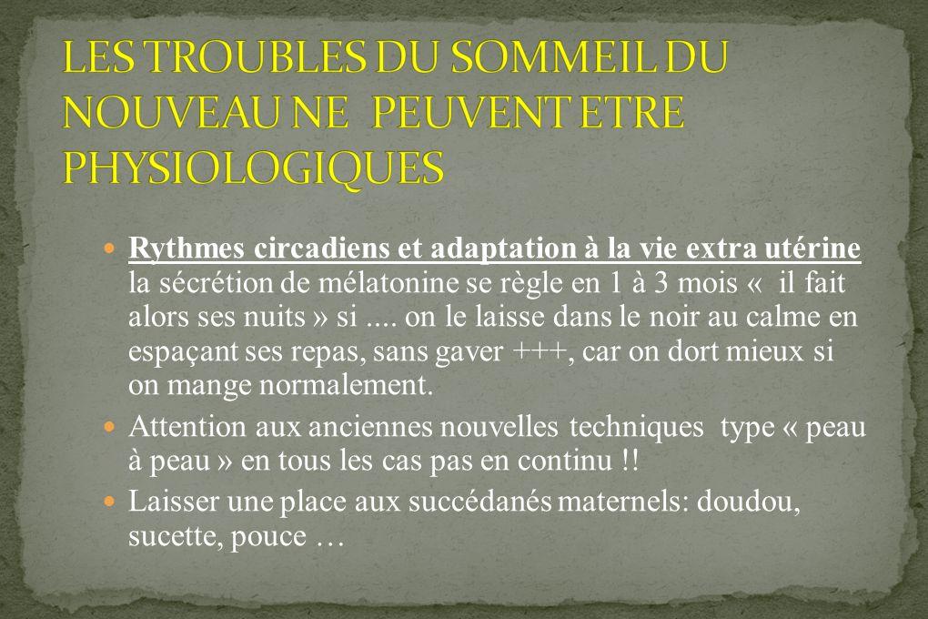 LES TROUBLES DU SOMMEIL DU NOUVEAU NE PEUVENT ETRE PHYSIOLOGIQUES