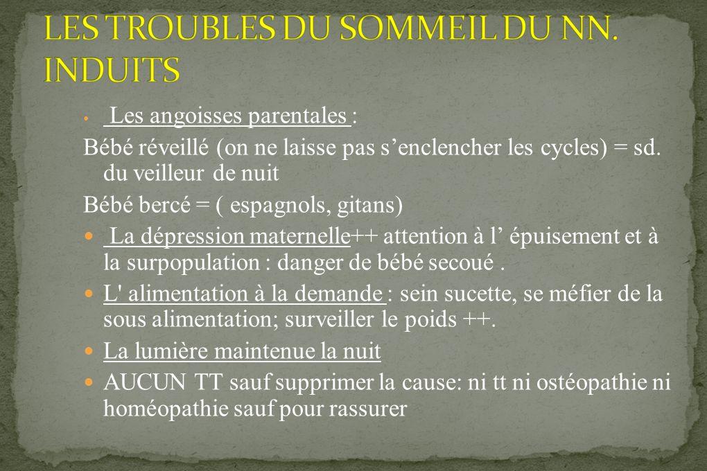 LES TROUBLES DU SOMMEIL DU NN. INDUITS