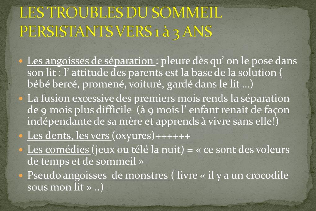 LES TROUBLES DU SOMMEIL PERSISTANTS VERS 1 à 3 ANS