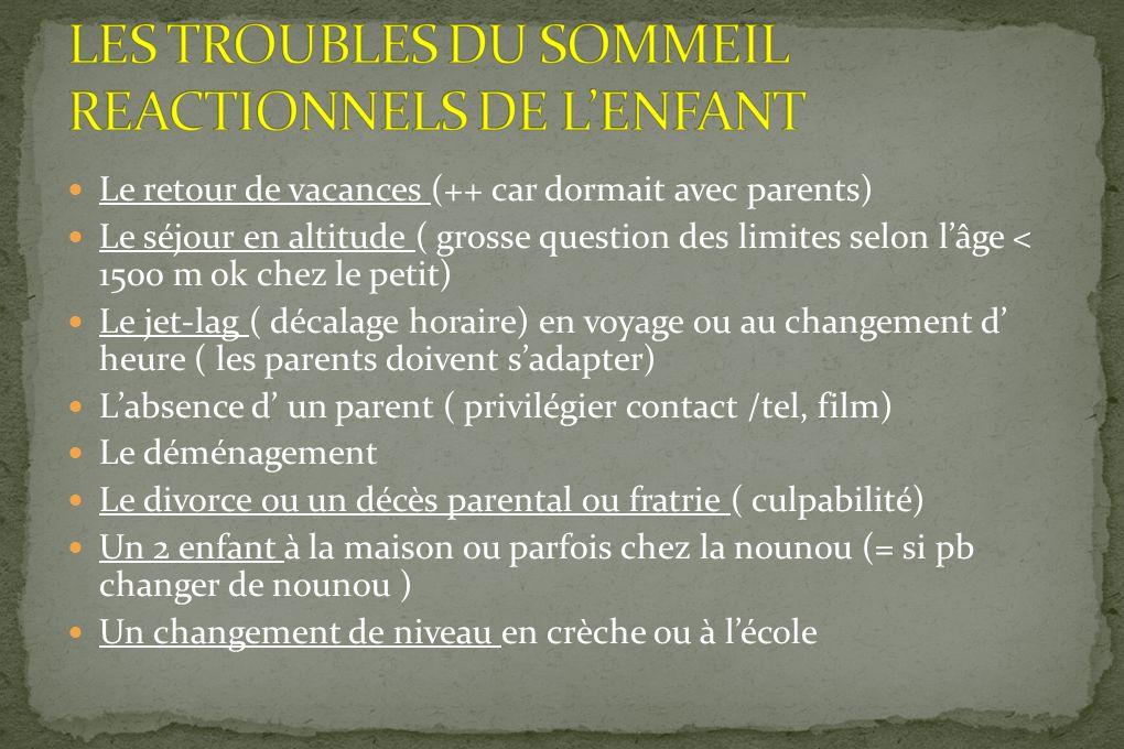 LES TROUBLES DU SOMMEIL REACTIONNELS DE L'ENFANT