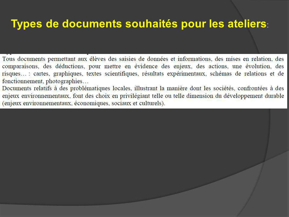 Types de documents souhaités pour les ateliers: