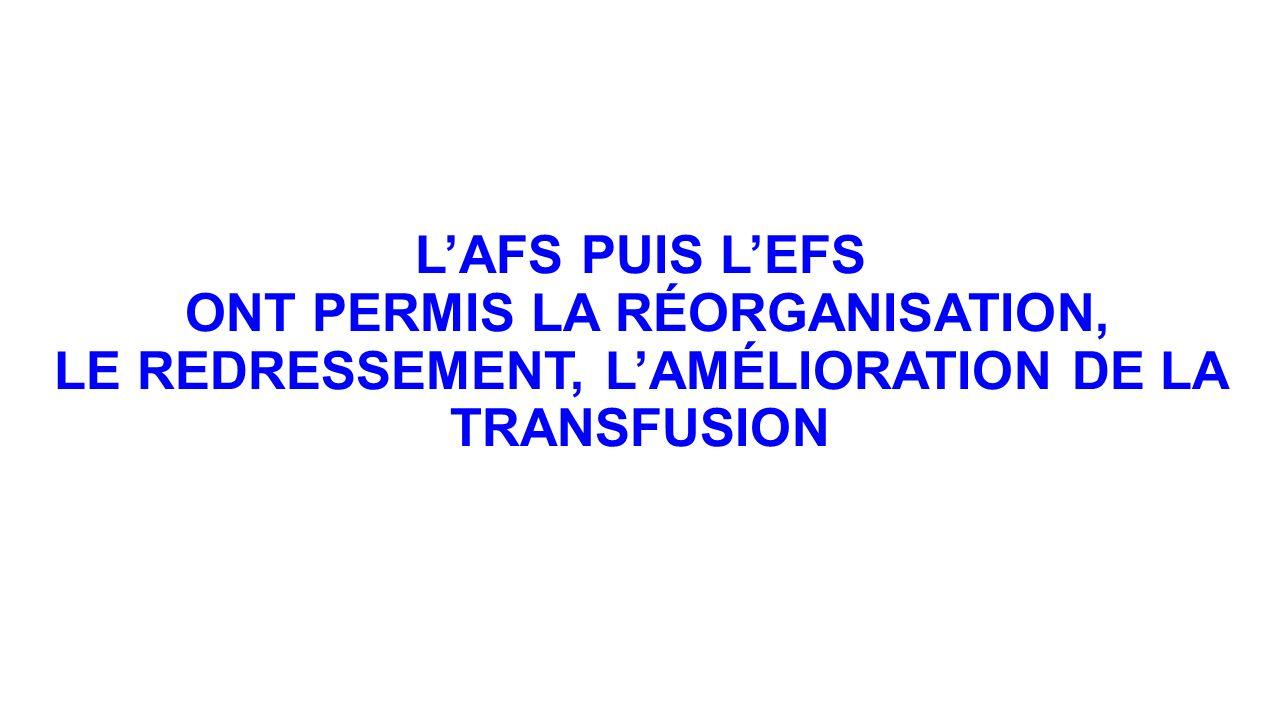 L'AFS PUIS L'EFS ONT PERMIS LA RÉORGANISATION, LE REDRESSEMENT, L'AMÉLIORATION DE LA TRANSFUSION