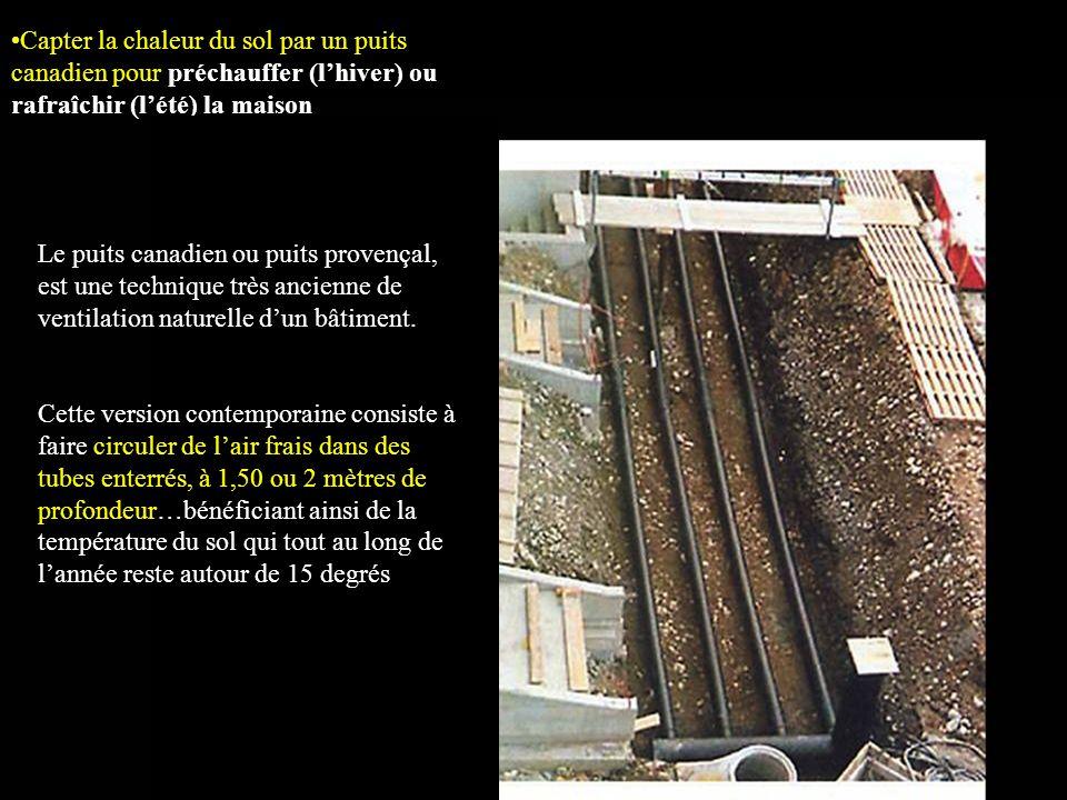 Capter la chaleur du sol par un puits canadien pour préchauffer (l'hiver) ou rafraîchir (l'été) la maison