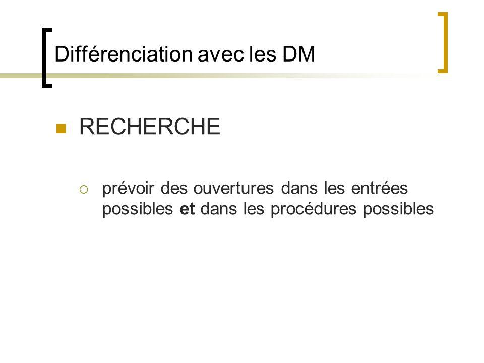 Différenciation avec les DM