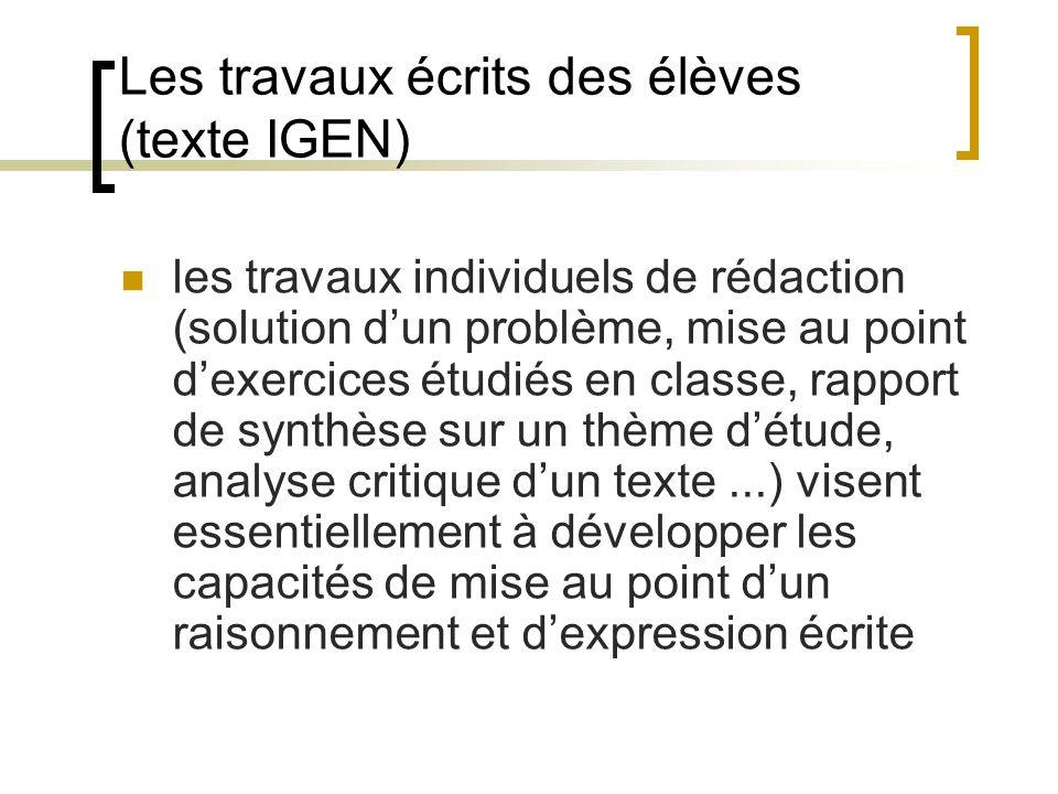 Les travaux écrits des élèves (texte IGEN)