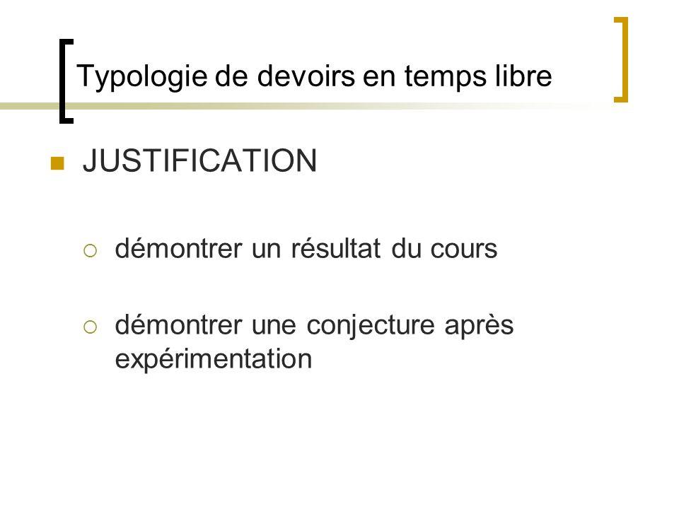 Typologie de devoirs en temps libre