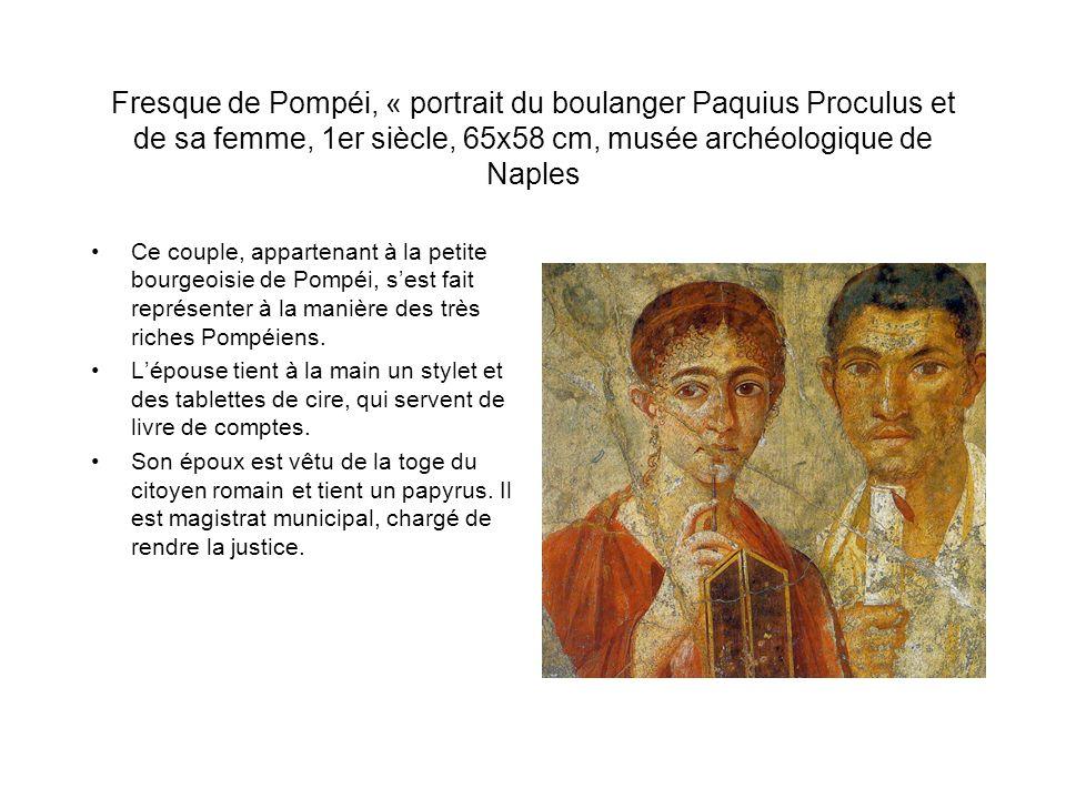 Fresque de Pompéi, « portrait du boulanger Paquius Proculus et de sa femme, 1er siècle, 65x58 cm, musée archéologique de Naples