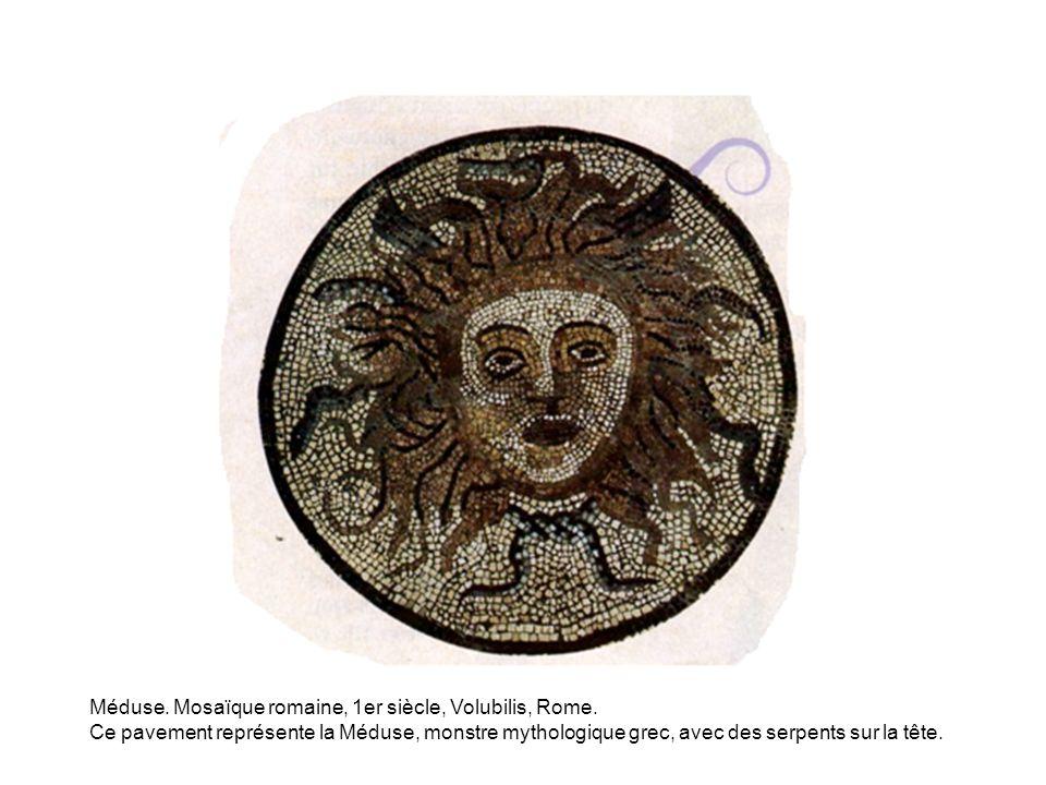 Méduse. Mosaïque romaine, 1er siècle, Volubilis, Rome.