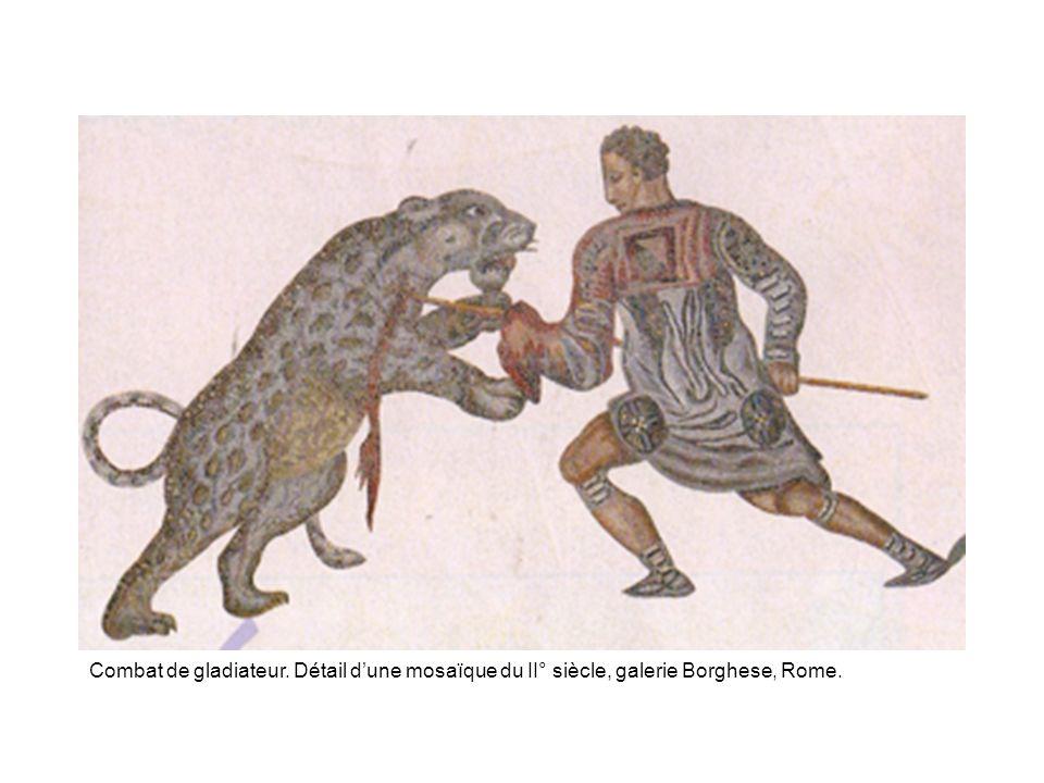 Combat de gladiateur. Détail d'une mosaïque du II° siècle, galerie Borghese, Rome.