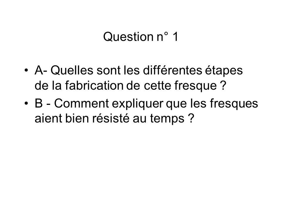 Question n° 1 A- Quelles sont les différentes étapes de la fabrication de cette fresque