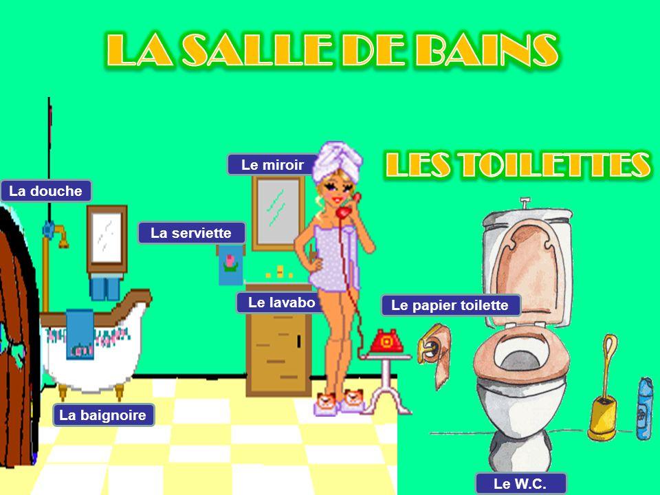 LA SALLE DE BAINS LES TOILETTES Le miroir La douche La serviette