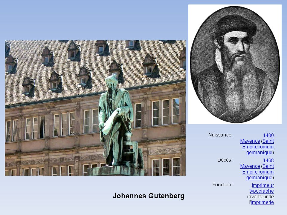 Johannes Gutenberg 1400 Mayence (Saint Empire romain germanique)