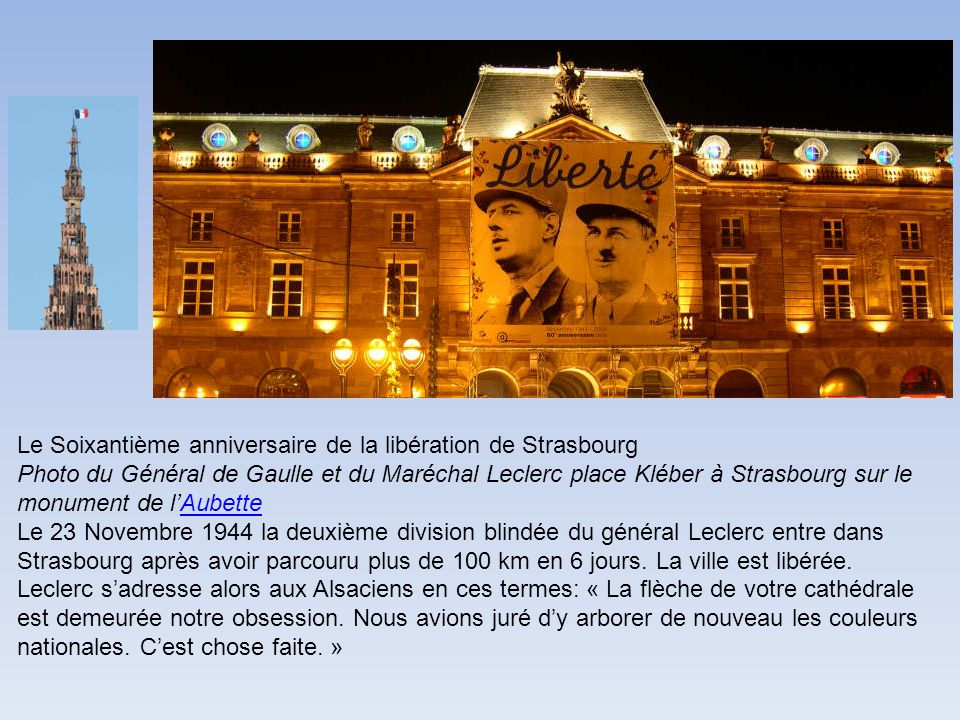Le Soixantième anniversaire de la libération de Strasbourg